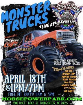 We are so excited to have Horsepower Park in town! Their first event is going to be April 18th and early bird tickets start at $10!  Put it on your calendar now, you are going to want to be there! #monstertrucks #horsepowerpark #burkeout