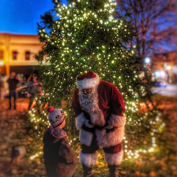 Santa was in Morganton on Sunday to help us celebrate the lighting of the memorial tree downtown. If you missed him, he will be around town many more times the next few weeks. There is exactly one month before Christmas! #santaclausiscomingtotown #naughty