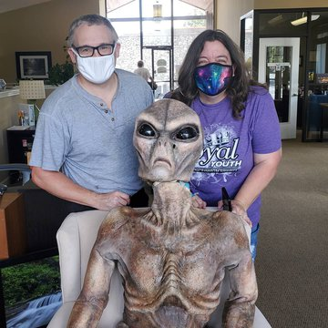 We love when visitors want to see our alien! The alien is a movie star from a film about the Brown Mountain Lights and is featured on Roadtrip America.   The visitors center is open for business! We hope you come in to find out about what's happening in B